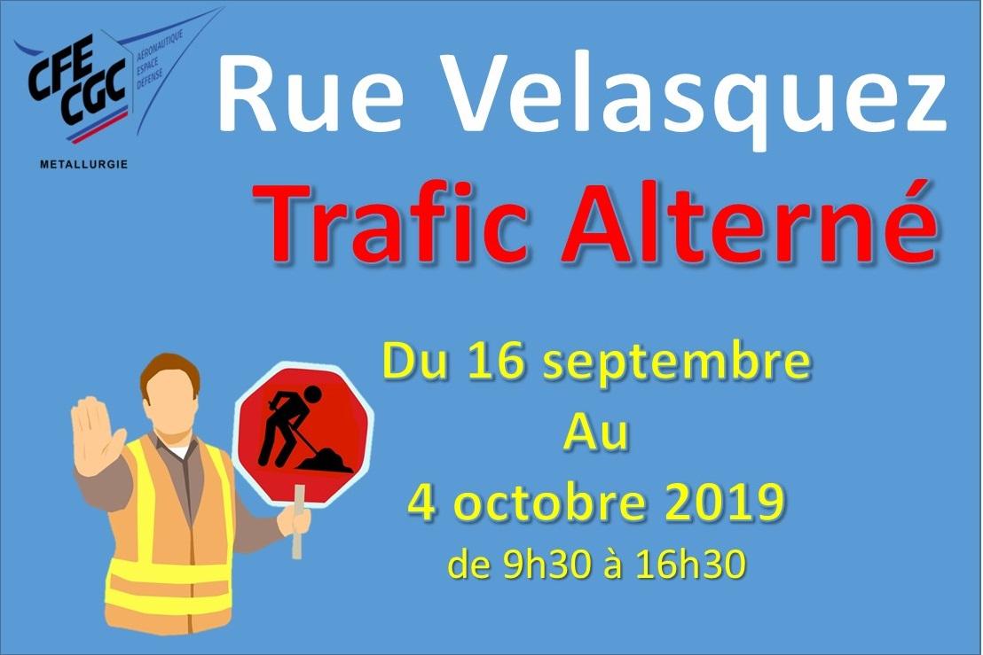 Rue Velasquez : Trafic Alterné du 16 Septembre au 4 octobre 2019