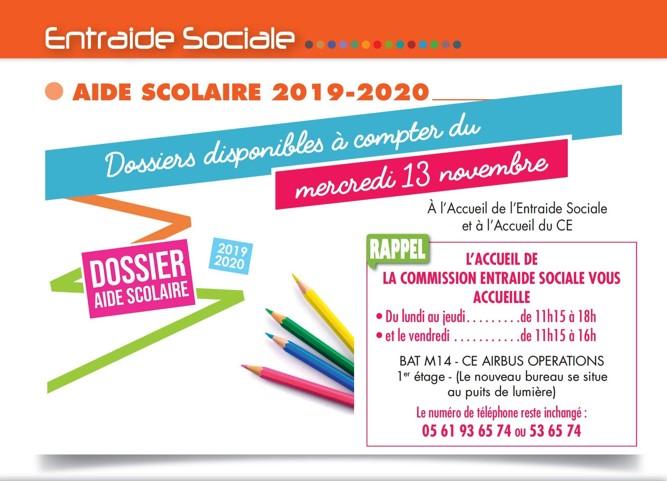 DOSSIER  AIDE SCOLAIRE 2019-2020