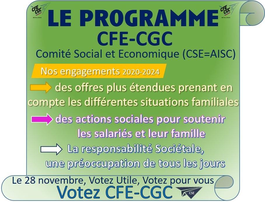 Comité Sociale et Economique : Le programme CFE-CGC