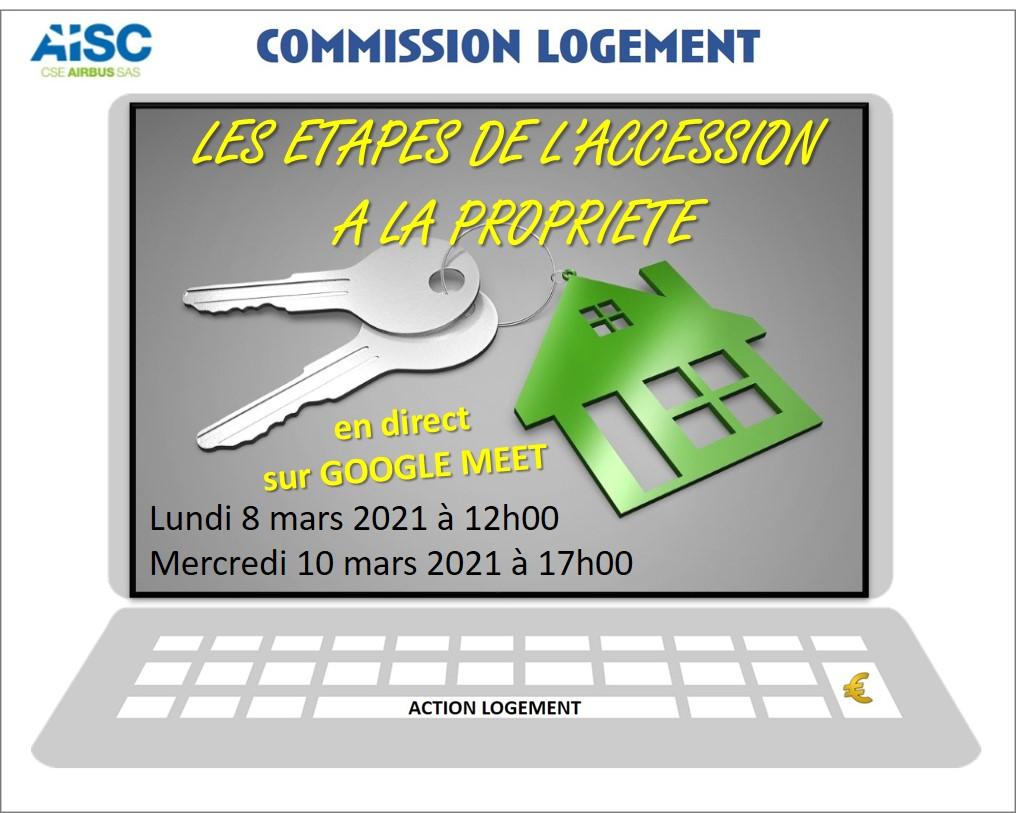 Commission Logement. Webinar : les étapes de l'accession à la propriété.