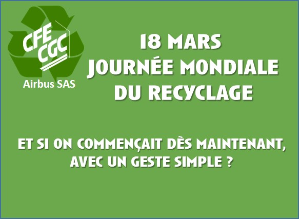 18 mars : journée mondiale du recyclage